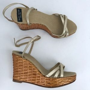 Kate Spade Vintage Bamboo Woven Wedge Heels Gold 5